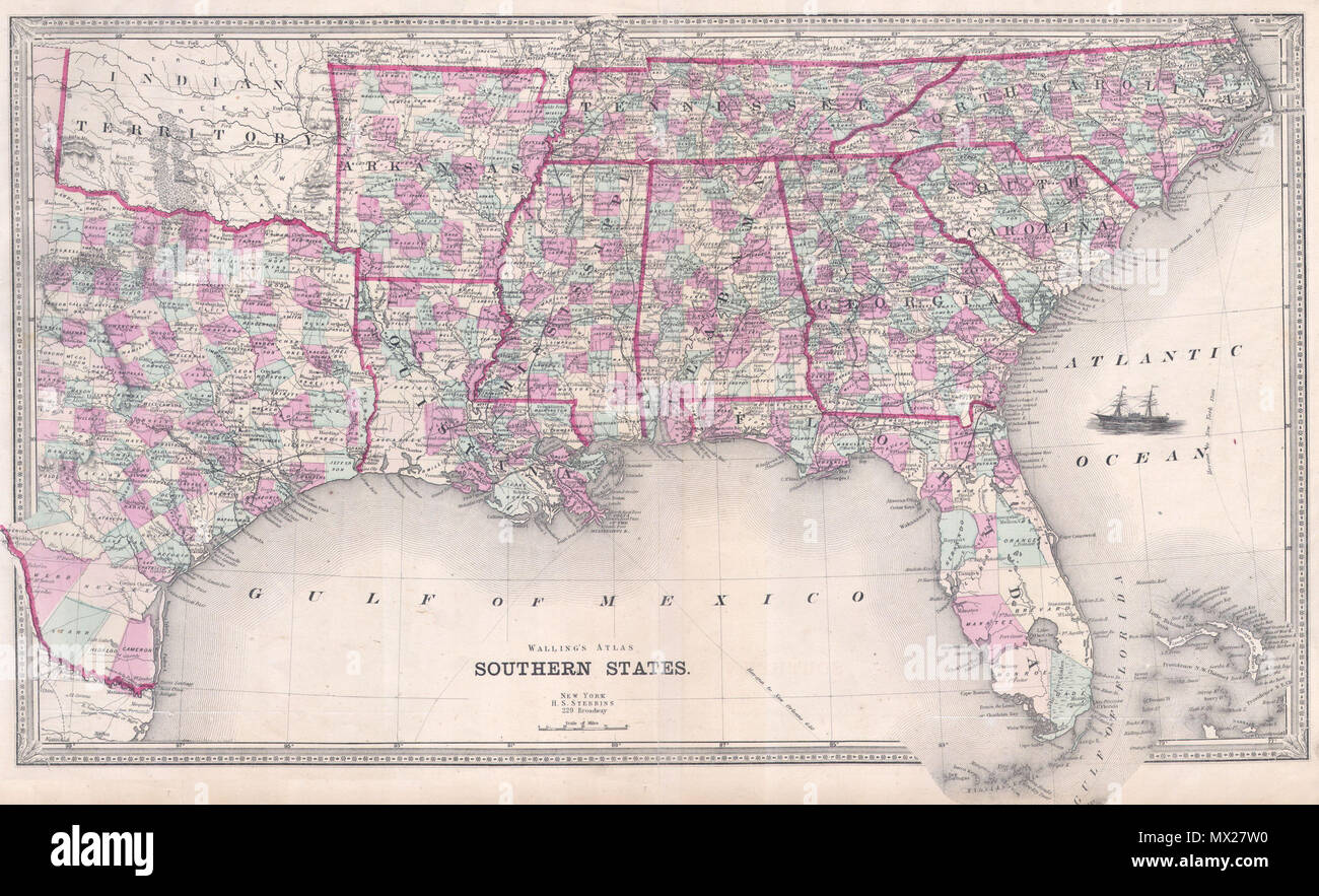 Southern States . English: This is an attractive map of the ...