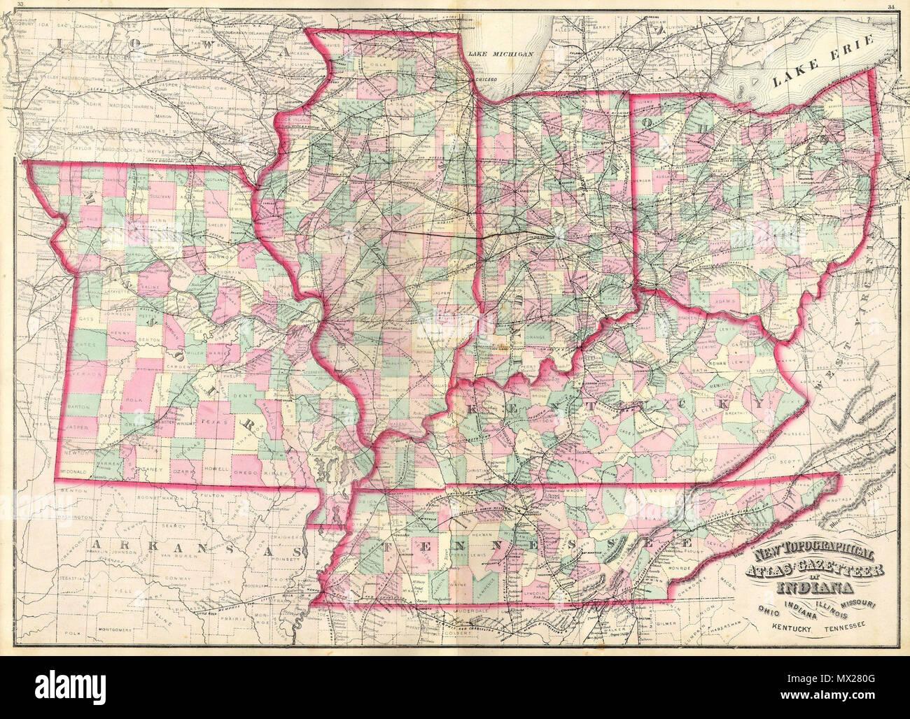 New Topographical Atlas And Gazetteer Of Indiana Ohio Indiana
