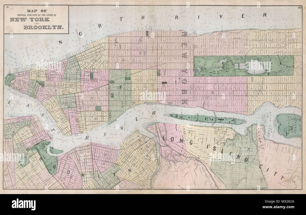 Map Of New York Brooklyn.Map Of Central Portions Of The Cities Of New York And Brooklyn