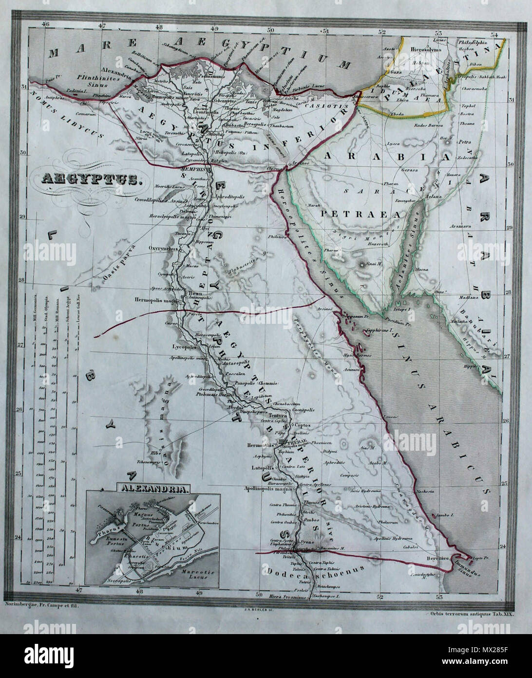 . English: Egypt from Orgis Terrarum Antiquus 1861 . 24 October 2013, 16:49:41.  Orbis terrarum antiquus 1861 28 Aegyptus from Orbis terrarum antiquus 1861 - Stock Image