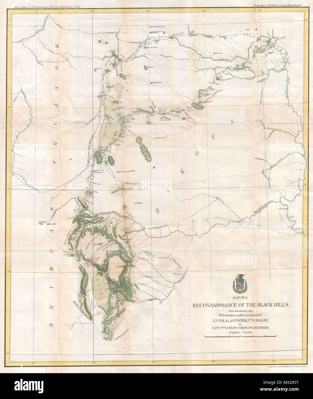 . Map of a Reconnaissance of the Black Hills, July and August, 1874, With troops under command of Lt. Col. G. A. Custer, 7th Cavalry, by Capt. Wm Ludlow Corps of Engineers.  English: George Armstrong Custer and William Ludlow's seminal 1874 map of the Black Hills, Dakota Territory, covering from the Missouri to the Powder River and from the 47th to the 43rd parallel. In 1874 one thousand cavalrymen under the command of Lt. Col. George Armstrong Custer moved into the Black Hills region of Dakota Territory. Though officially American Indian territory according to the 1868 Treaty of Laramie, rumo Stock Photo