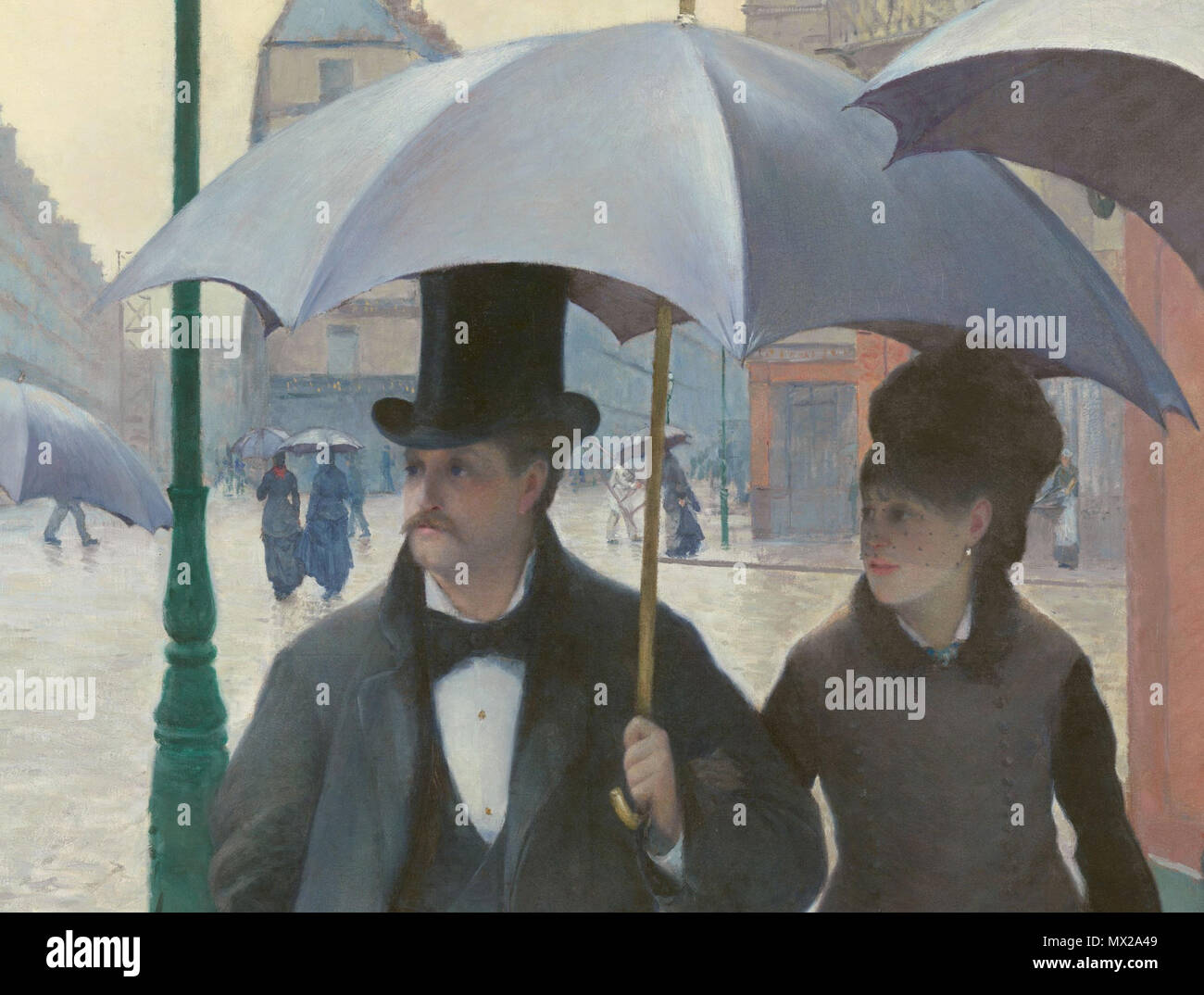 .  English: Cropped version of Gustave Caillebotte - Paris Street; Rainy Day - Google Art Project . 17 February 2014, 15:09:39.    Gustave Caillebotte (1848–1894)   Alternative names Gustav Caillebotte; Caillebotte  Description French painter, art collector, patron, philatelist, marine architect and sailor  Date of birth/death 19 August 1848 21 February 1894  Location of birth/death Paris Gennevilliers  Work period between 1863 and 1893  Work location Paris, Petit-Gennevilliers, Yerres, Honfleur (1880–1889), Trouville-sur-Mer (1880–1893)  Authority control  : Q295144 VIAF:71399604 ISNI:00 - Stock Image