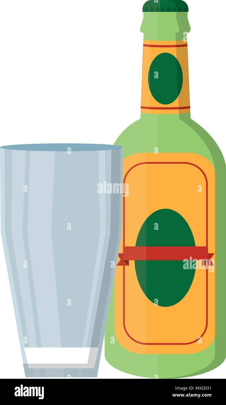 schnapps liquor bottle beverage with glass Stock Vector