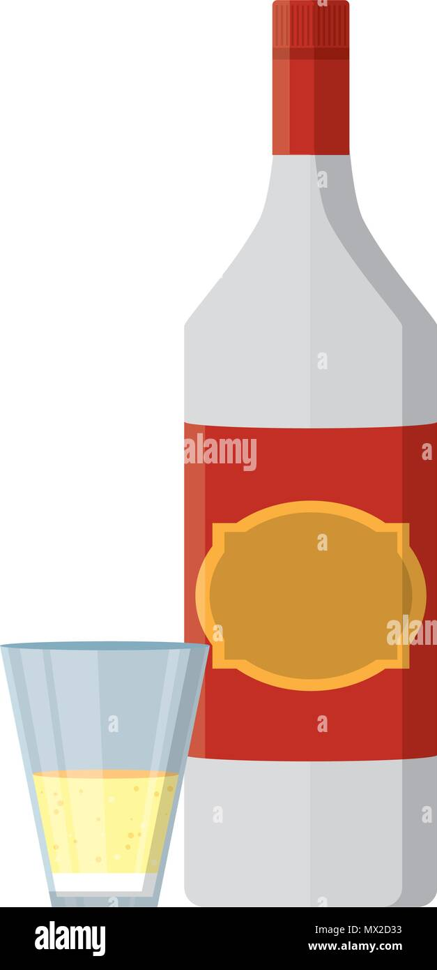 schnapps liquor bottle and glass beverage Stock Vector
