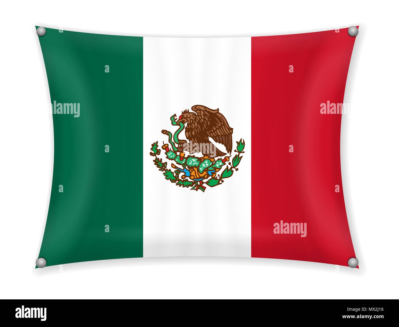 Waving Mexico flag on a white background. - Stock Image