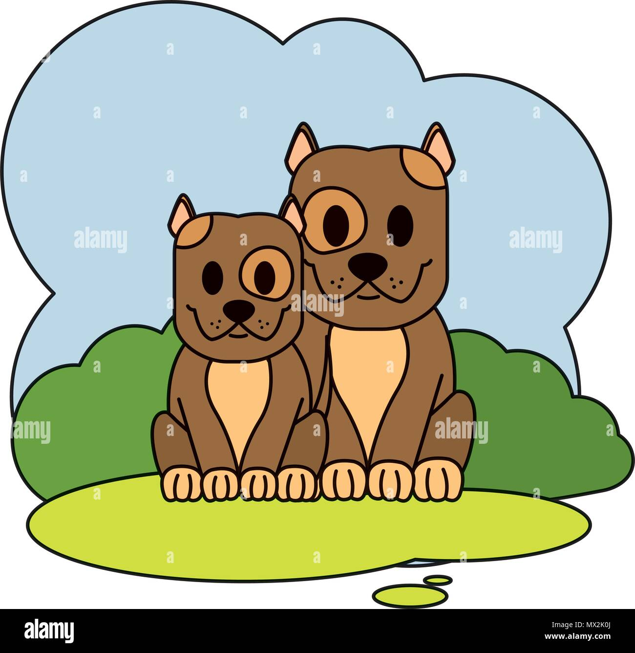 Color Couple Dog Cute Animal In The Landscape Stock Vector Art