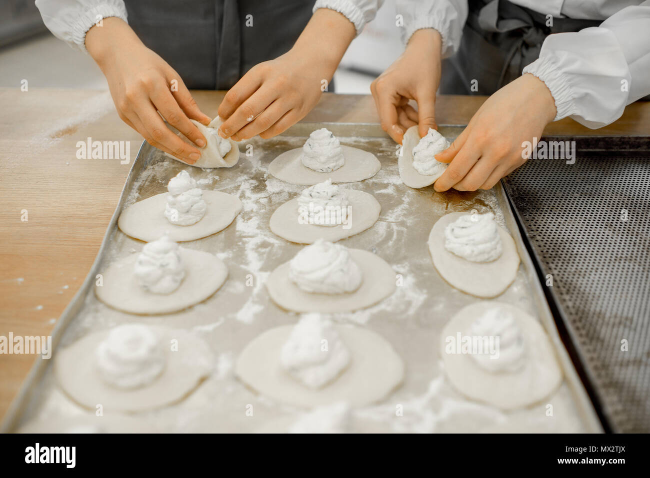 Forming buns at the manufacturing - Stock Image