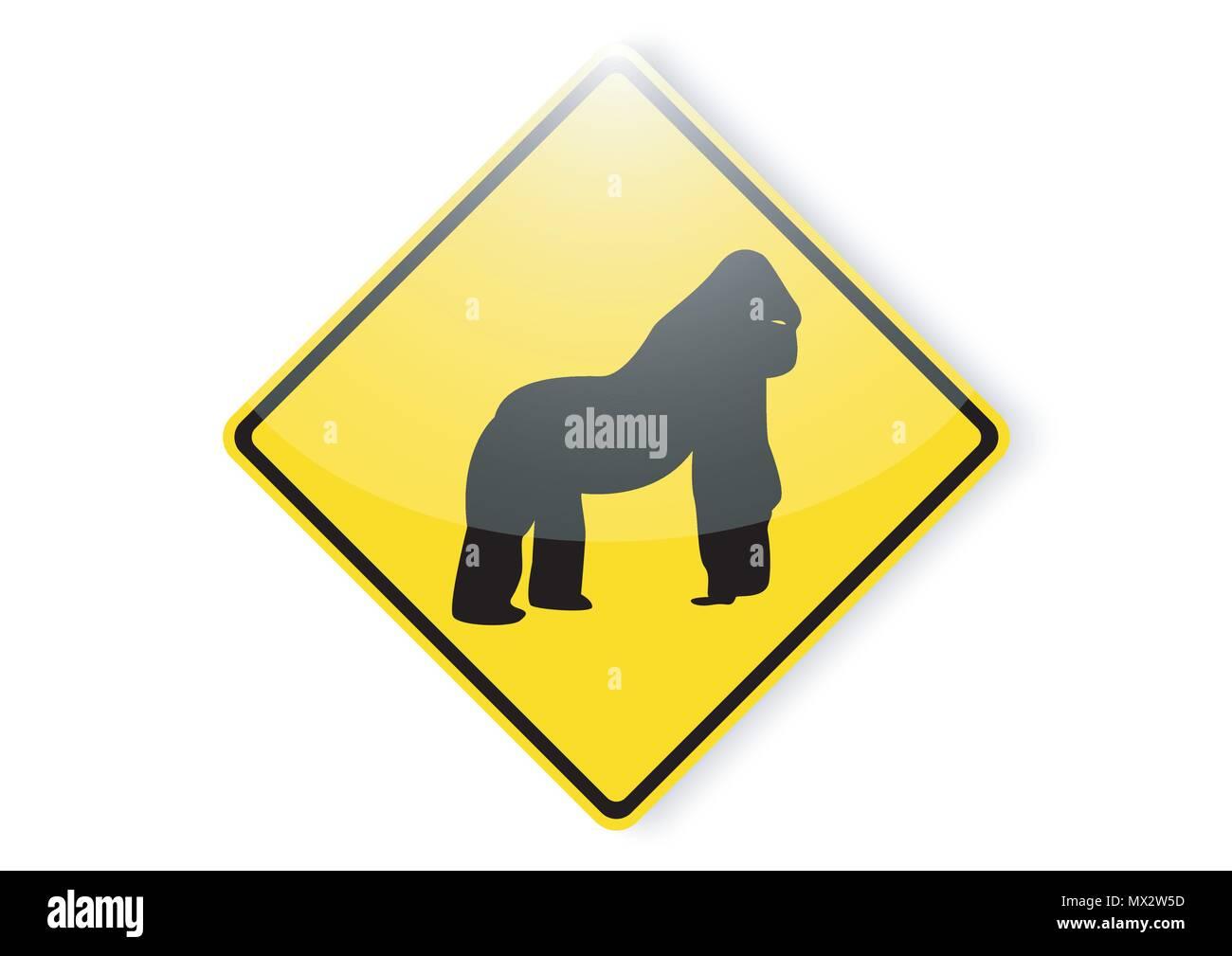 vector design of gorilla warning sign - Stock Vector