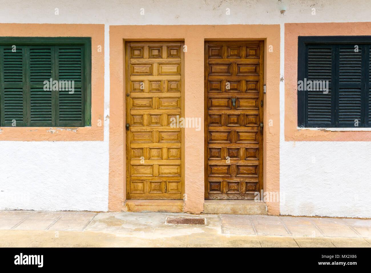 Mallorca Two Original Spanish Wooden House Front Doors Stock Photo