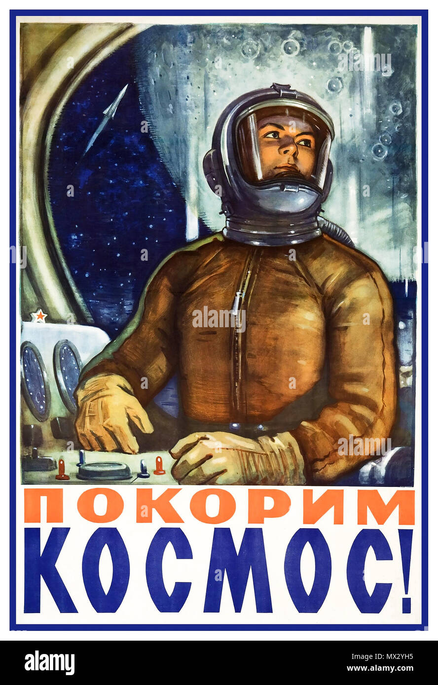 1960's Female Astronaut Cosmonaut Vintage Soviet Propaganda Poster USSR space exploration poster from 1960's featuring a female astronaut...'Conquering Space!' - Stock Image