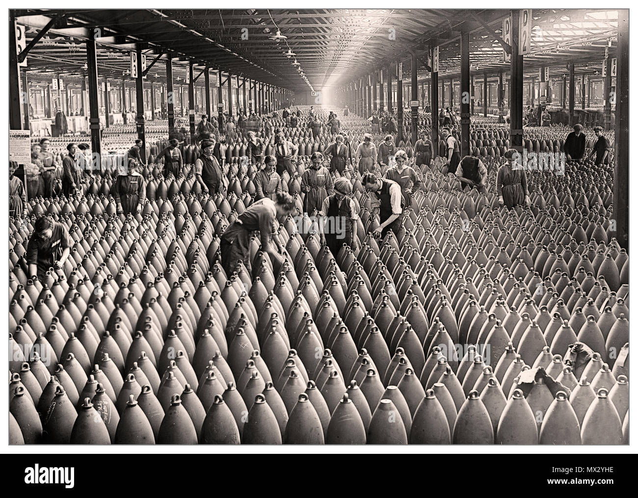 World War 1 Shells Ammunitions Factory UK The Chilwell munitions filling factory, Britain, WW1 More than 19 million shells were filled with explosives here by 10,000 workers between 1915-1918, during World War 1. The factory filled over half of all British shells during the Great War. - Stock Image