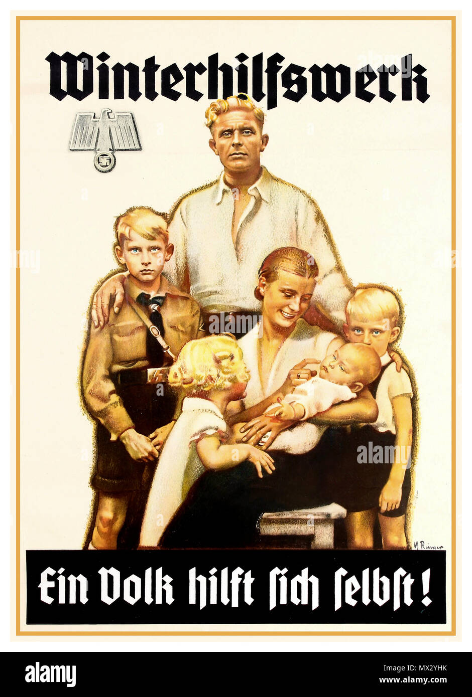 Vintage 1940's WW2 Nazi Propaganda Poster with stereotypical blond aryan German family group of six including a boy in Hitler Youth uniform, promoting winter charity for people to help each other  'Winterhilfswerk' Nazi Germany World War II - Stock Image