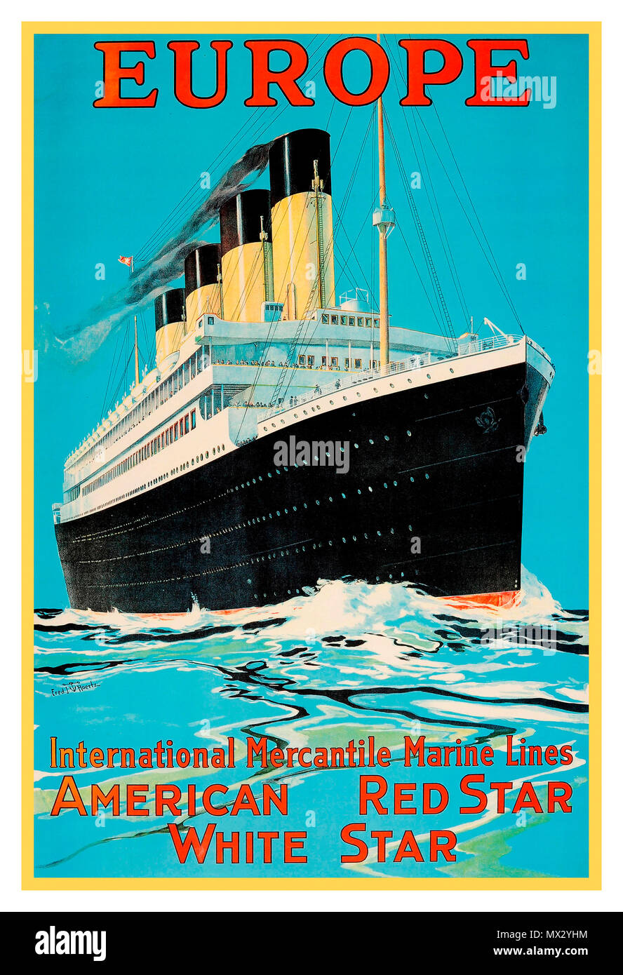 1900's Vintage cruise ship liner travel poster Europe American Red Star White Star cruise line RMS Olympic by Fred J Hoertz - Stock Image