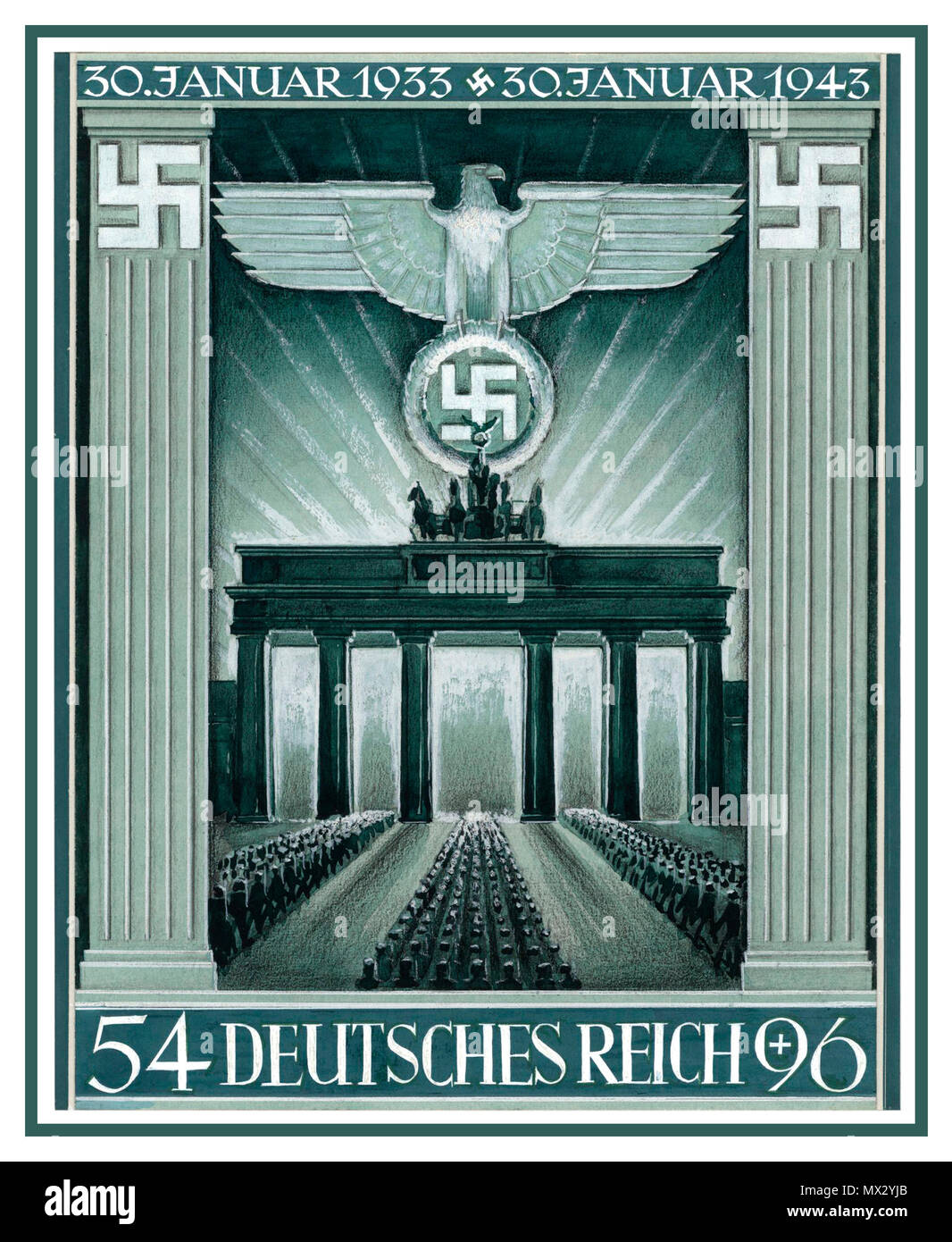 Vintage Nazi prepared original artwork propaganda Brandenburg Gate Berlin Nazi Germany 10th anniversary of the Nazi takeover by Hitler 1933-1943 artwork for Deutsches Reich commemorative stamp first day of issue Jan 1943 Graphics by G. Klein - Stock Image