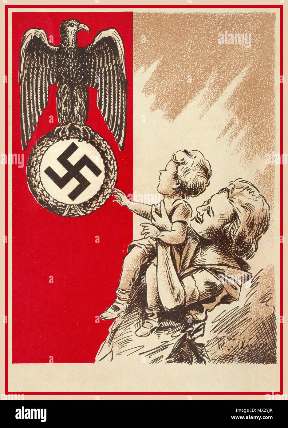 1939 Propaganda Postcard Nazi Germany showing a mother and child with the Fatherland Nazi Eagle and Swastika as a National Guardian Symbol to be revered respected and admired... Stock Photo