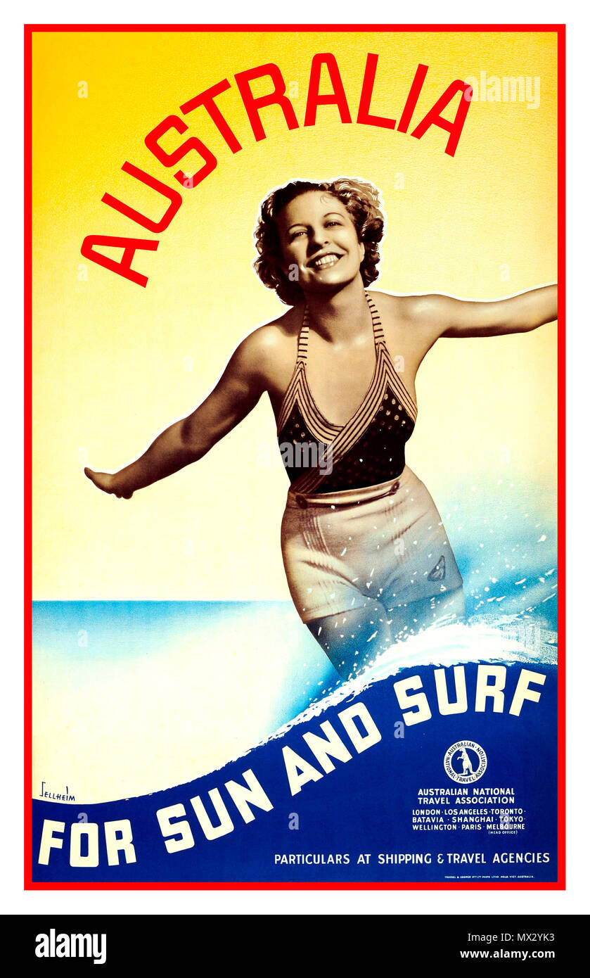 Vintage 1930's travel advertising poster  'Australia For Sun and Surf' published by the Australian National Travel Association. Design by award winning architect and graphic designer Gert Sellheim (Gert Hugo Emmanuel Sellheim; 1901-1970) featuring a black and white photograph of a smiling young lady wearing a swimming costume against a sunny yellow background with a stylised blue wave splashing up her legs.. - Stock Image