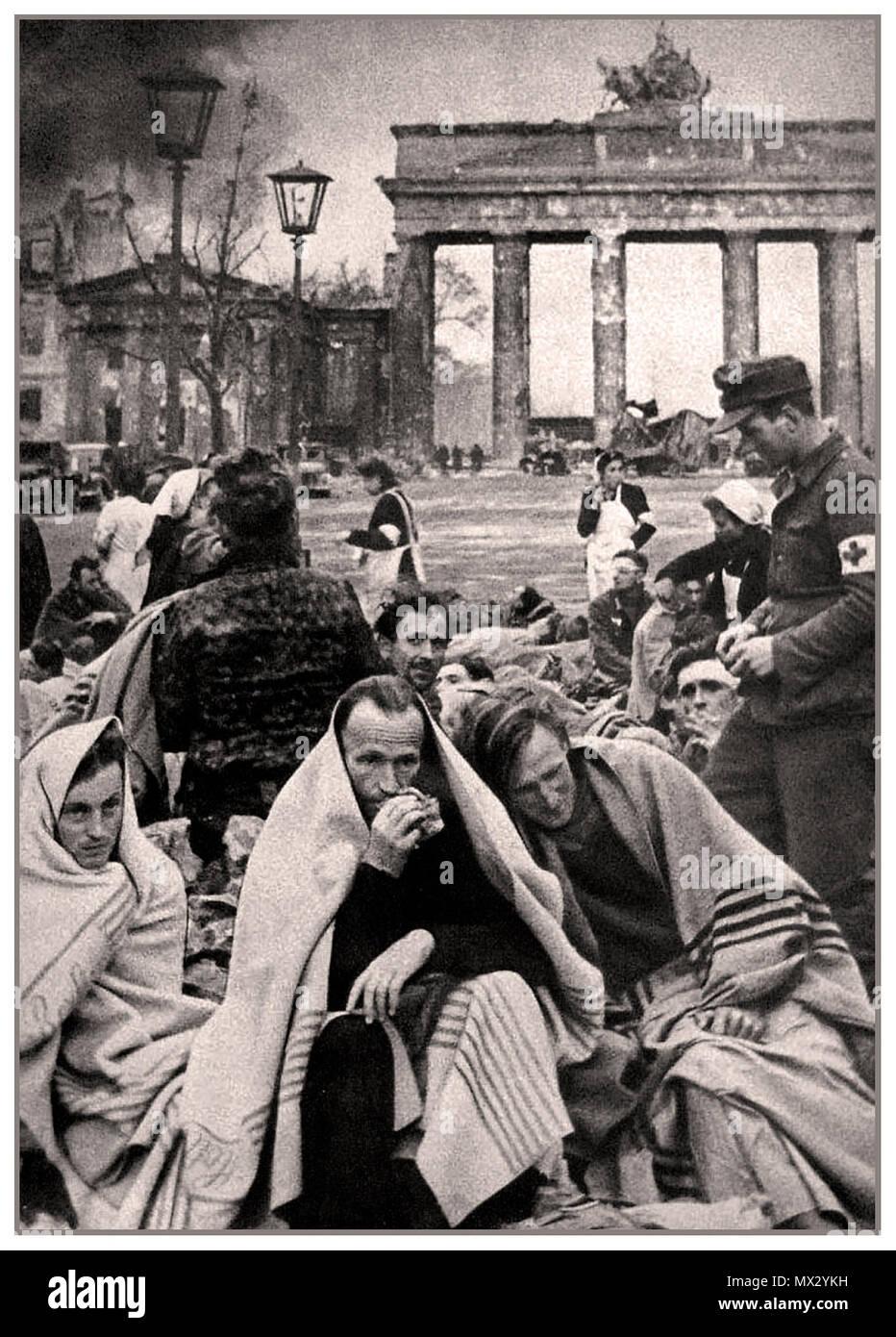Vintage WW2 Brandenburg Gate Berlin with defeated Nazi German POWs and medics 1945 - Stock Image