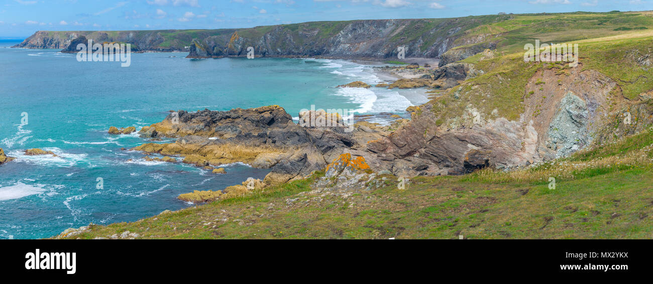 Part of the rugged coastline of Lizard Point in Cornwall Stock Photo ...