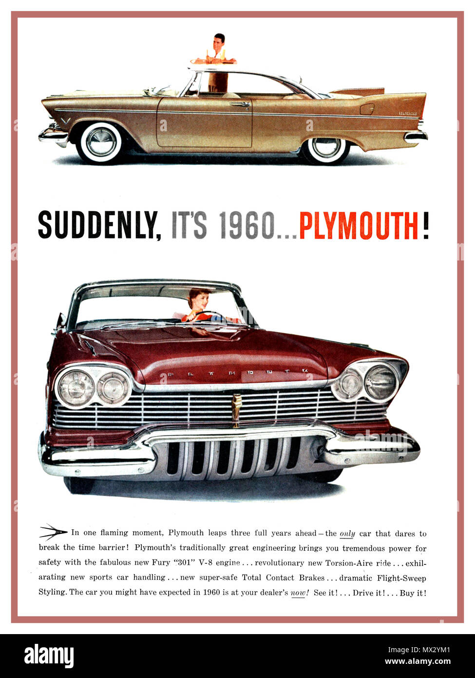 1960 Plymouth Fury Police Car Stock Photos Images Alamy Automobile Motorcar Vintage American Magazine Press Advertisement Suddenly Its