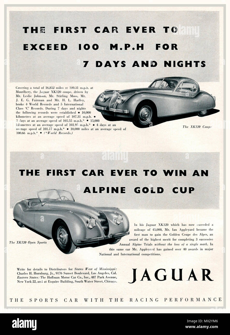1950 Vintage advertisement for Jaguar XK120 super sports cars The Coupe and Open Sports 'The fastest production sports car in the world, first to exceed 100mph for 7 days and nights endurance race. The most outstanding car of its generation designed and built in Great Britain UK - Stock Image