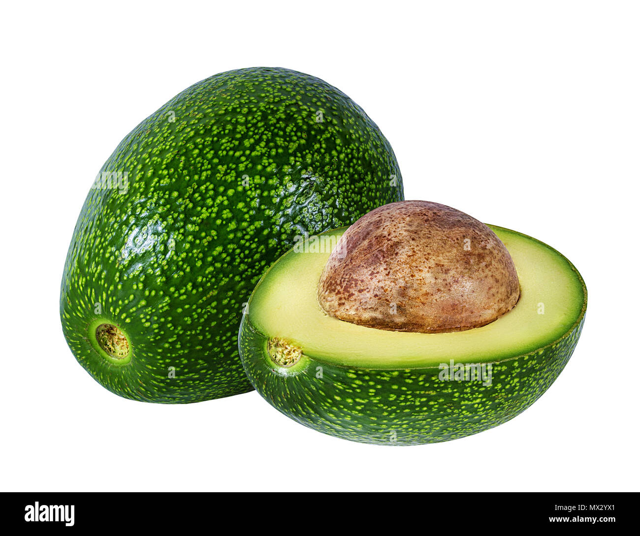 Fresh avocado fruits isolated on white background with clipping path - Stock Image