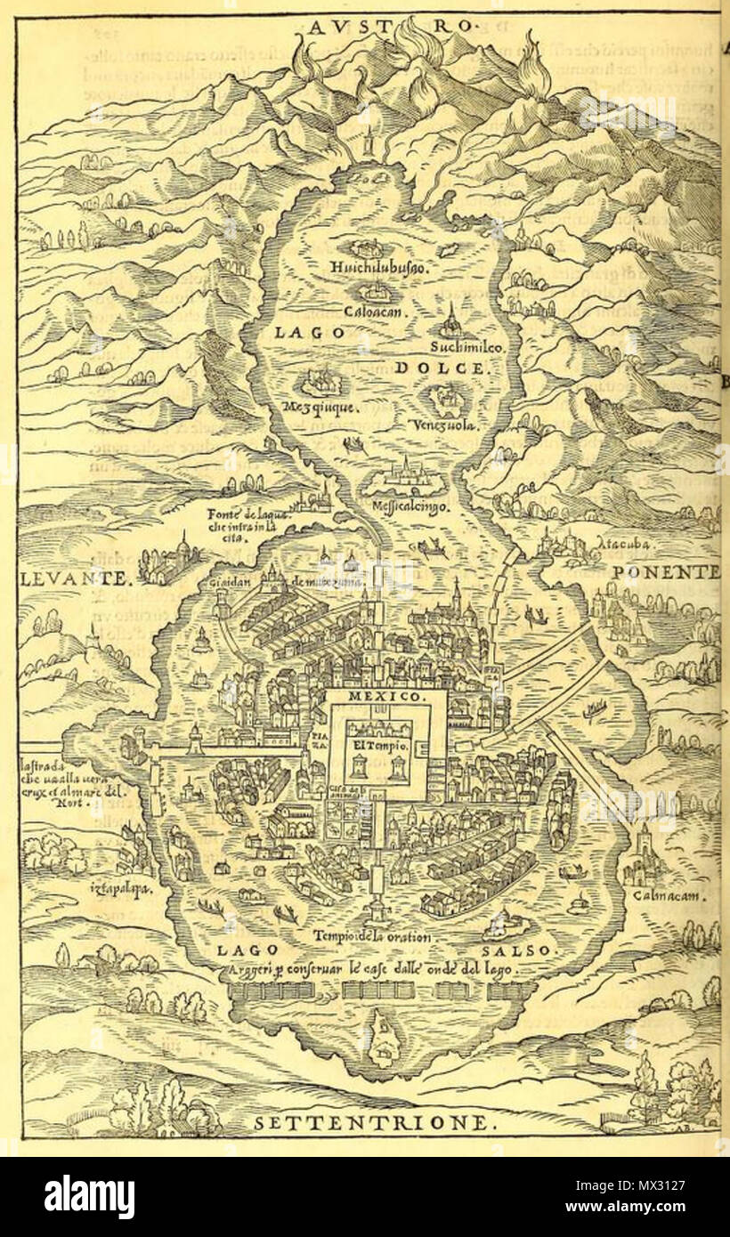 English Map Of The City Of Mexico In G B Ramusio S Delle