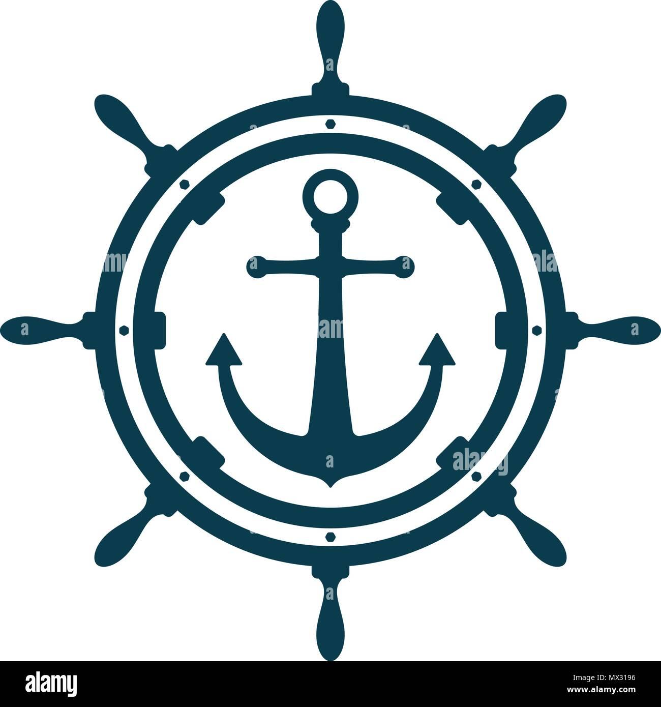 bd888546a Ship wheel and anchor on white background. Nautical icon design ...