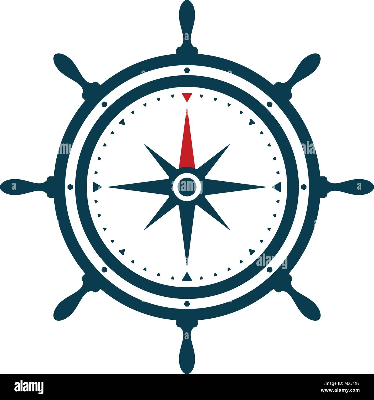 95a84026e Ship wheel and compass rose on white background. Nautical icon design.