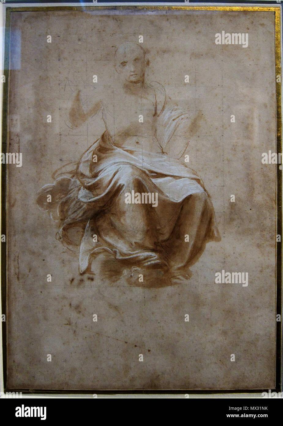 . Français: Homme drapé assis au Palais des beaux-arts de Lille. 25 May 2013, 16:20:02. Raphaël 372 Lille PdBA raphael drape assis - Stock Image