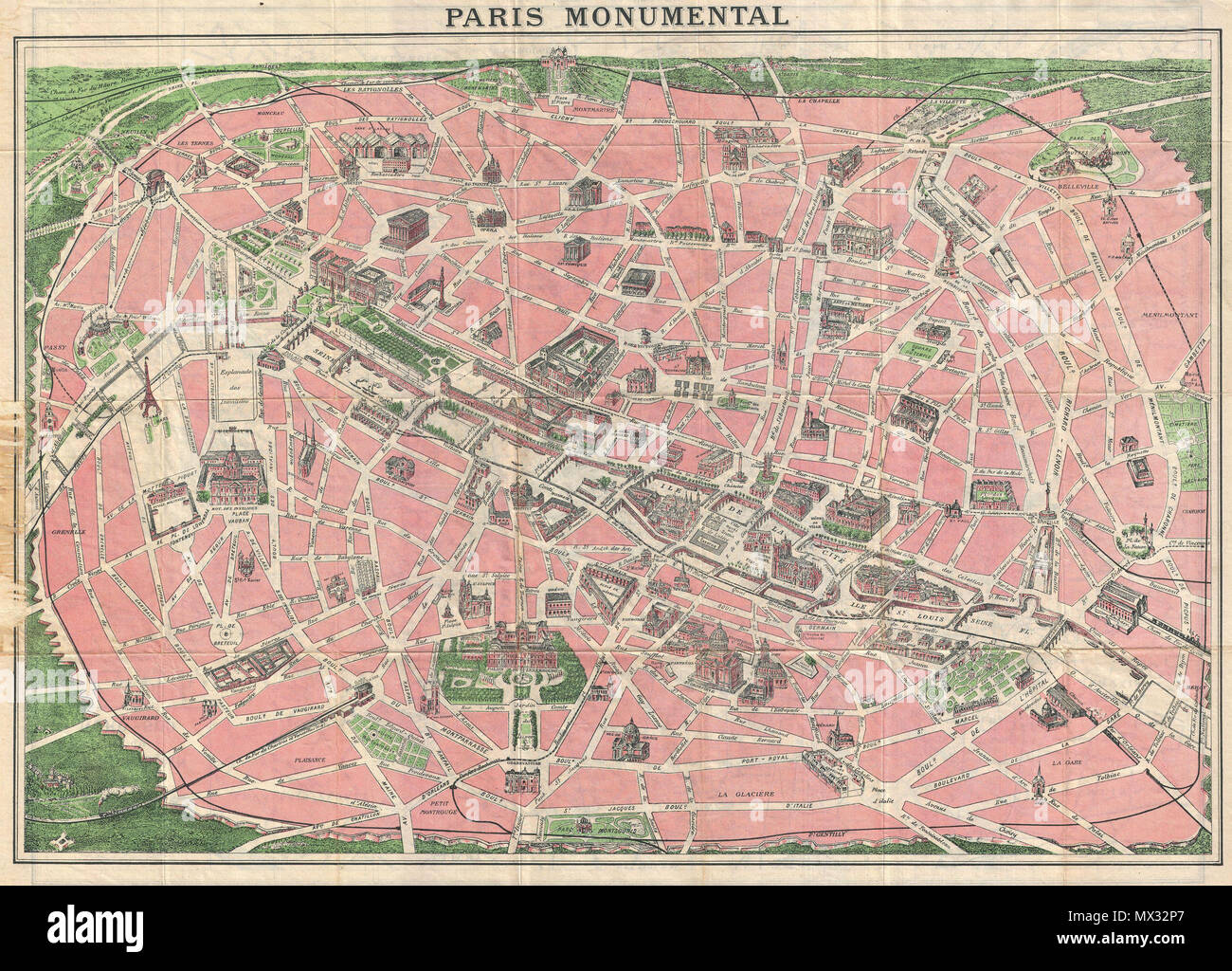 paris monumental english this is an extremely attractive 1926 tourist pocket map of paris france covers the old walled city of paris and the immediate