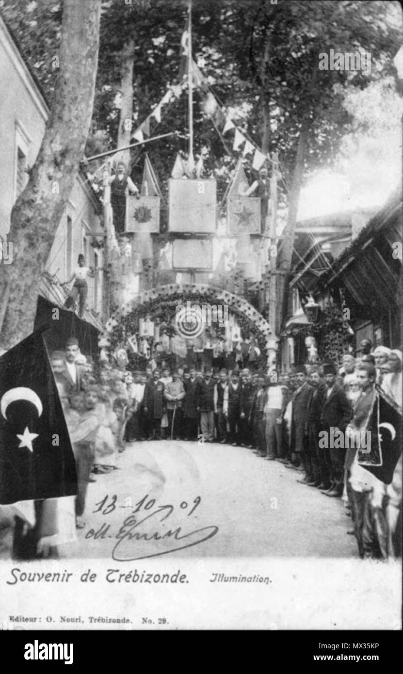 . English: Postcard featuring illumination for a festivity at Trebizond (Trabzon, Turkey). 10 June 2014, 18:21:12. Osman Nuri 294 Illumination at Trebizond Stock Photo