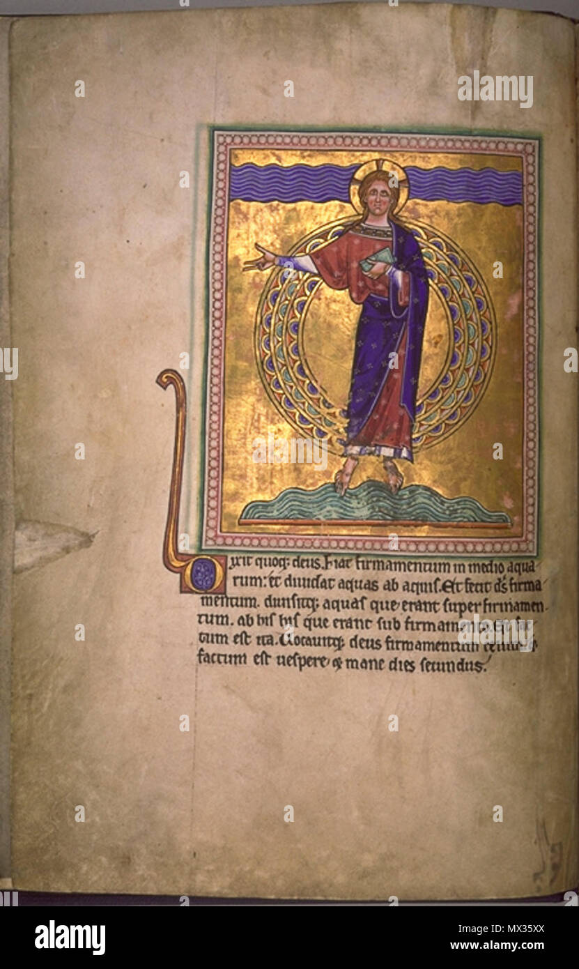 Aqmf creation of the waters and the firmament. folio 2 verso from