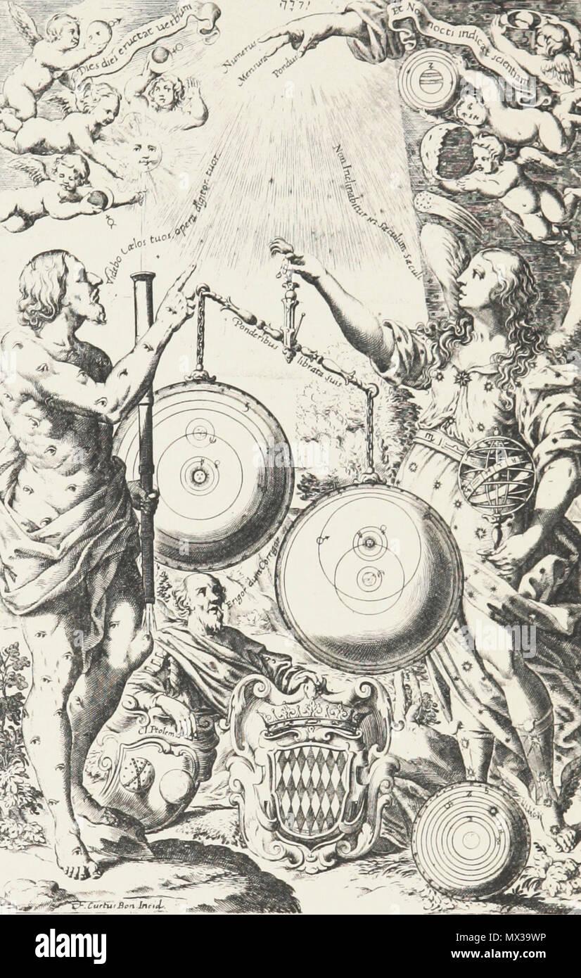 English: Frontispiece of Riccioli's 1651 New Almagest  Mythological