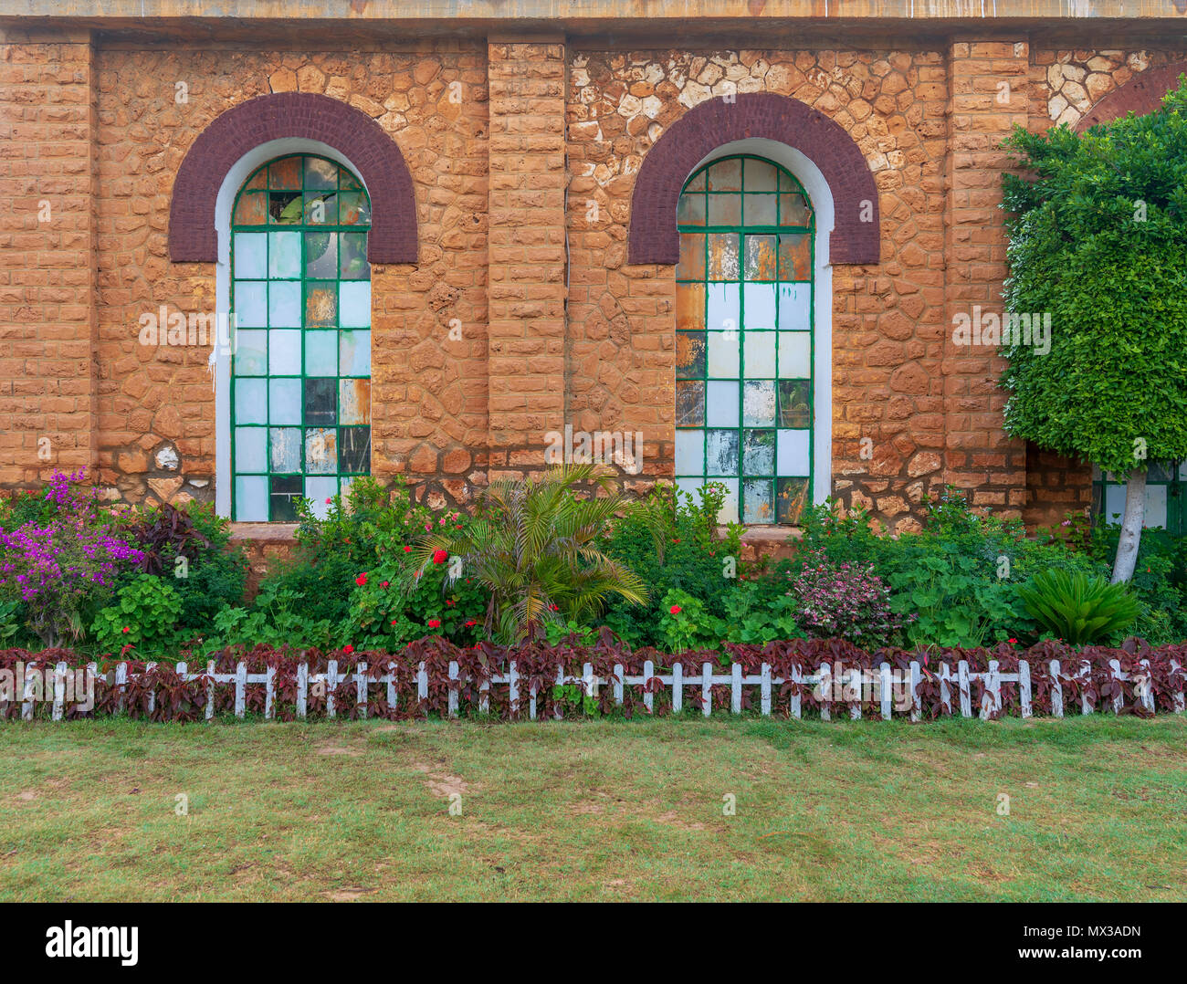 Orange colored bricks stone wall with two big old grunge windows covered with green metal grid, green grass floor, and plants at summer time, Montazah - Stock Image