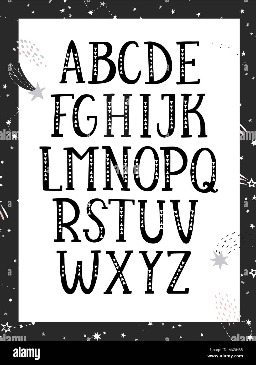 Hand drawn graphic font. Black and white, monochrome alphabet. For typography poster, card and label, brochure, flyer, page and banner design. Vector illusration. - Stock Image