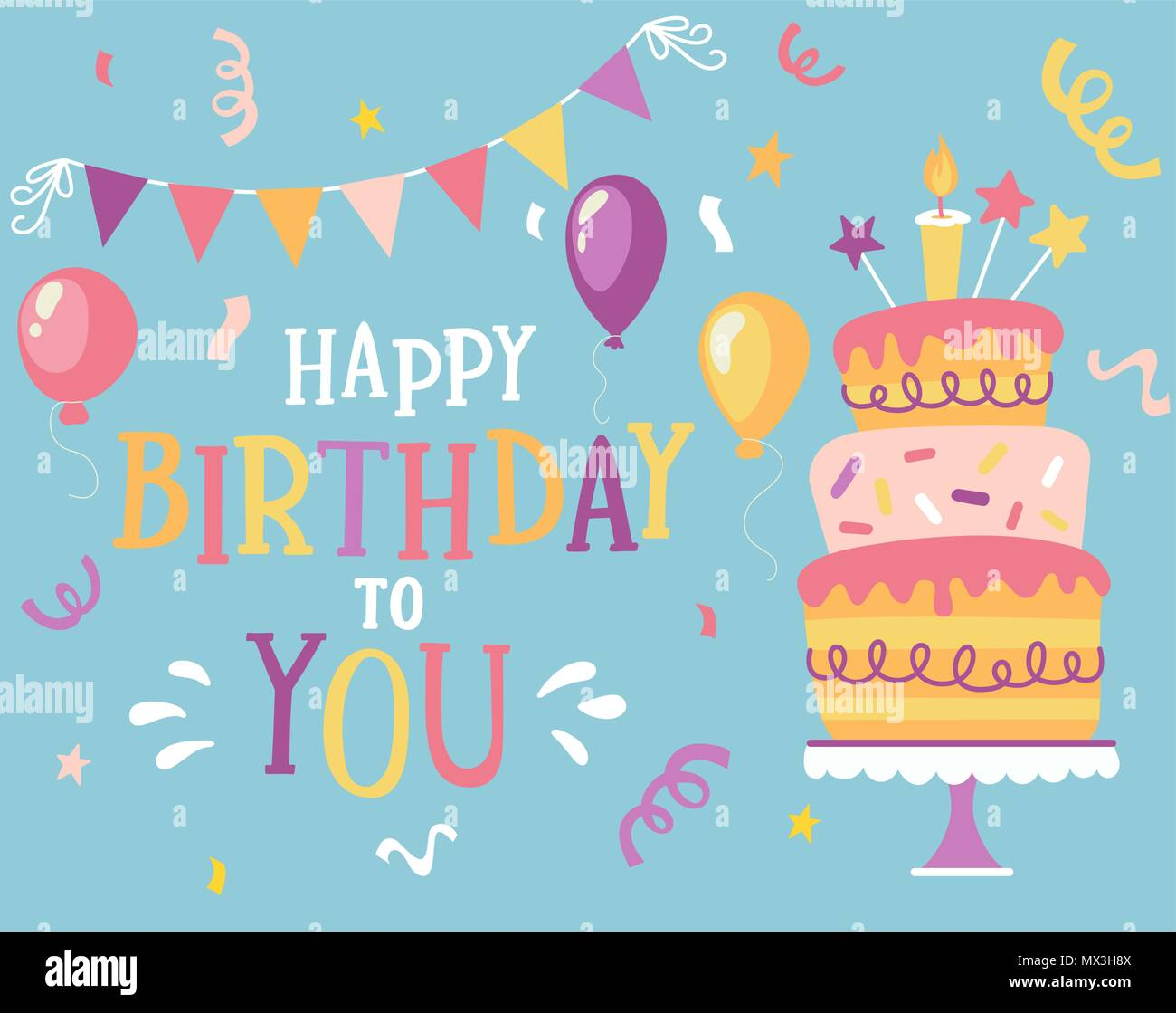 happy birthday to you typographic vector design for greeting cards