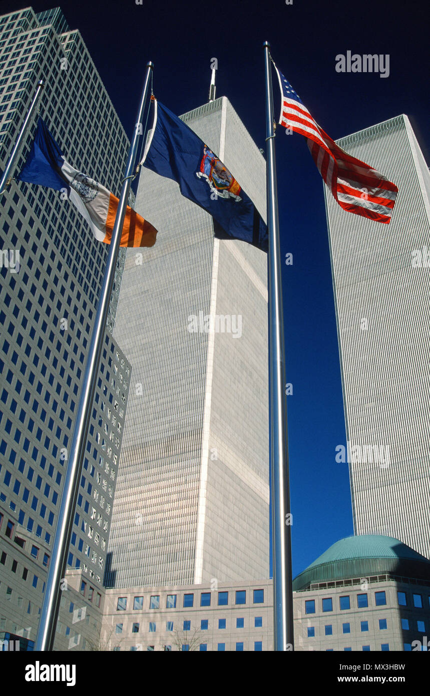 Historical Images of The World Trade Center Towers in 1999, NYC, USA - Stock Image