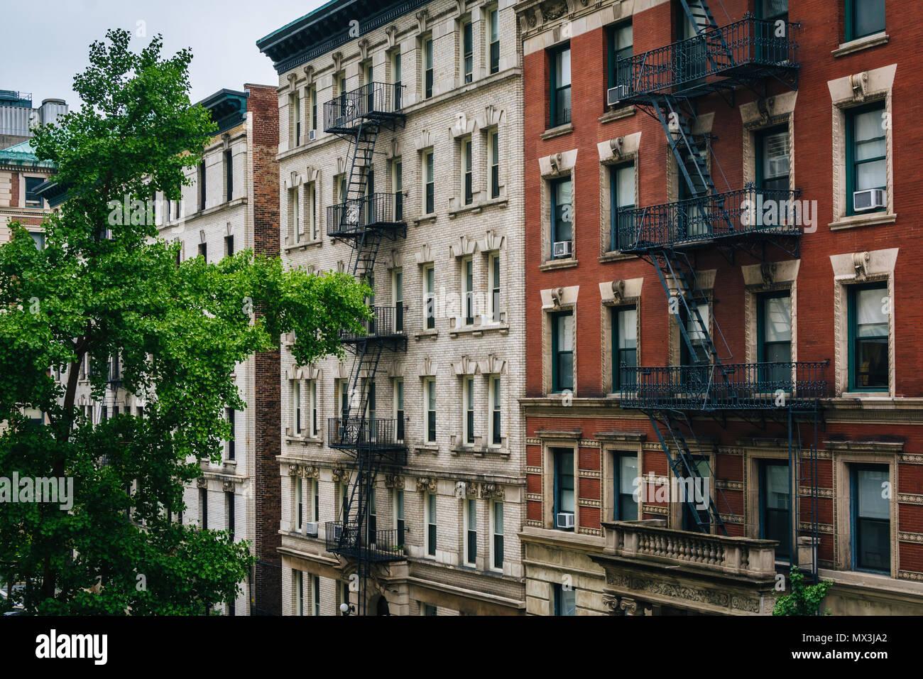 Brick buildings in Morningside Heights, Manhattan, New York City. - Stock Image