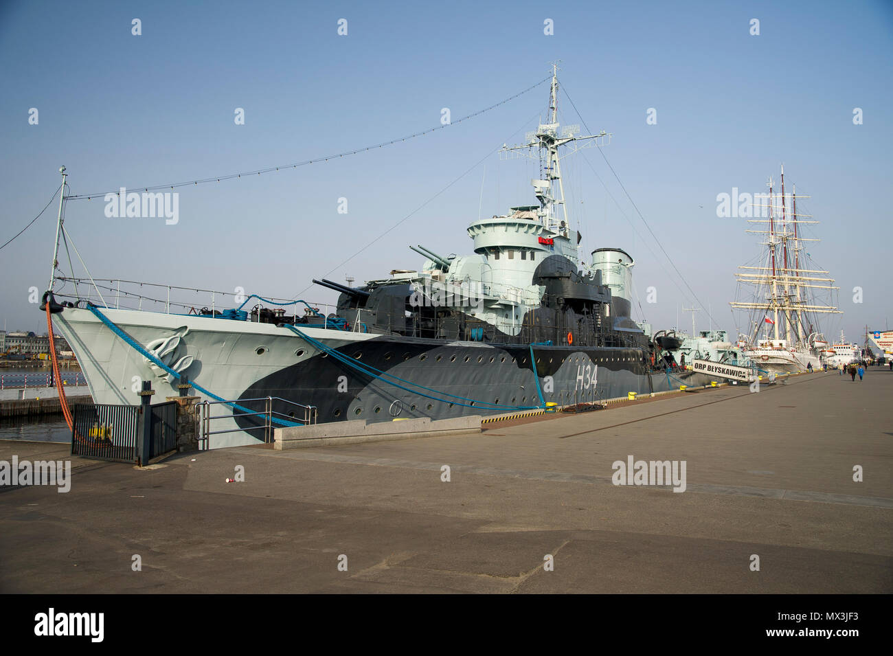 Museum ship ORP Blyskawica is a Grom class destroyer which served in the Polish Navy during World War II. ORP Blyskawica and it sister ship ORP Grom w - Stock Image