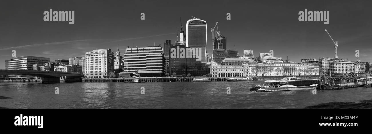 Panoramic view of the CIty of London and River Thames north bank from London Bridge to London Bridge City Pier, the Walkie Talkie and Adelaide House Stock Photo
