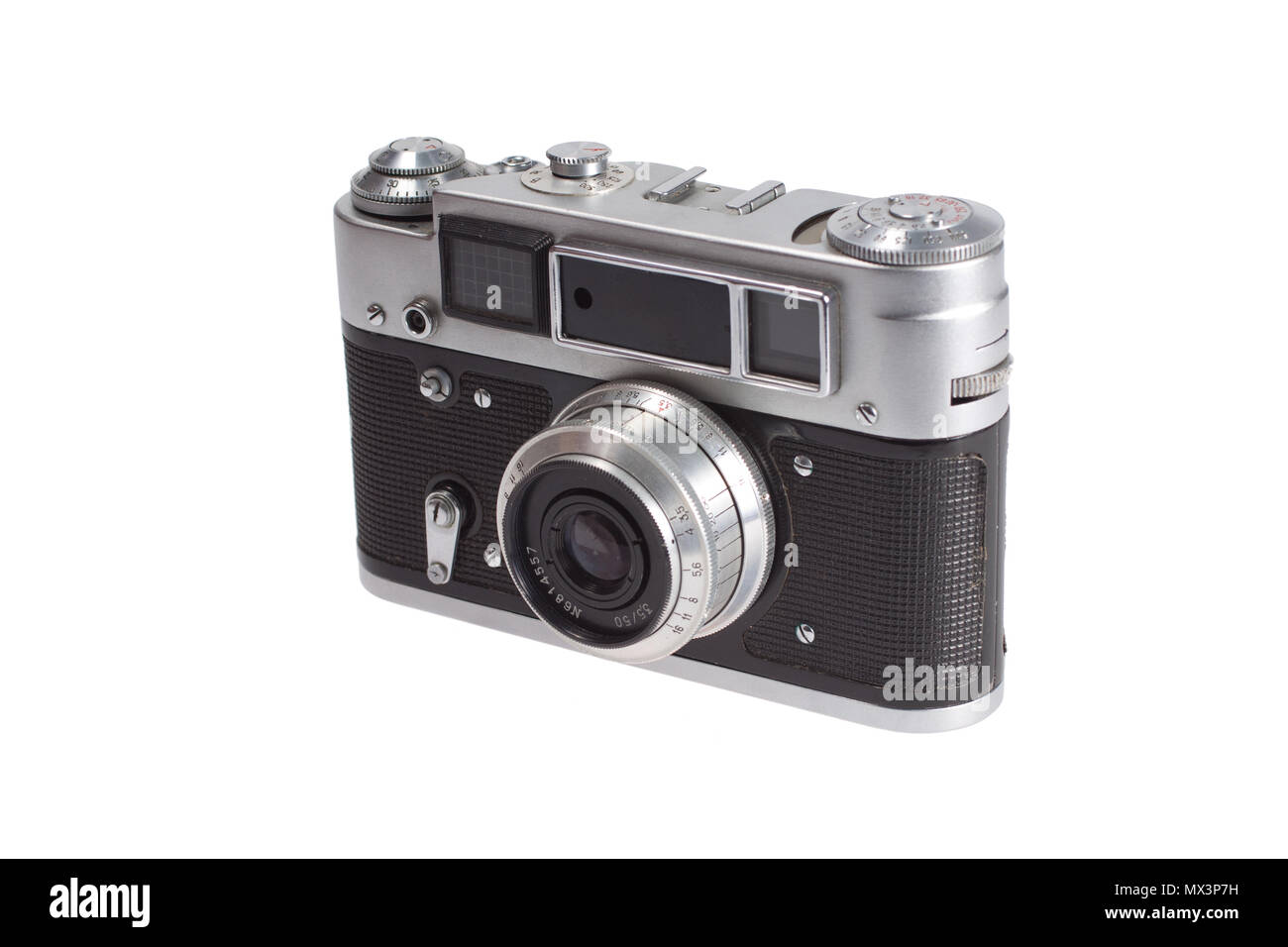 Rangefinder camera with old style  exponometr isolated on white background - Stock Image