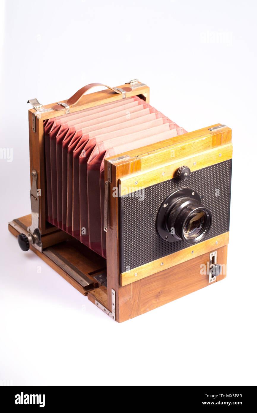 Rangefinder camera with old style  exponometr isolated on white background - Stock Image