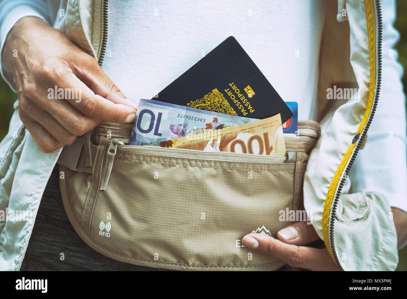 Money Belt, Money Travel Documents,Credit Cards, Secure Waist Wallet - Stock Image