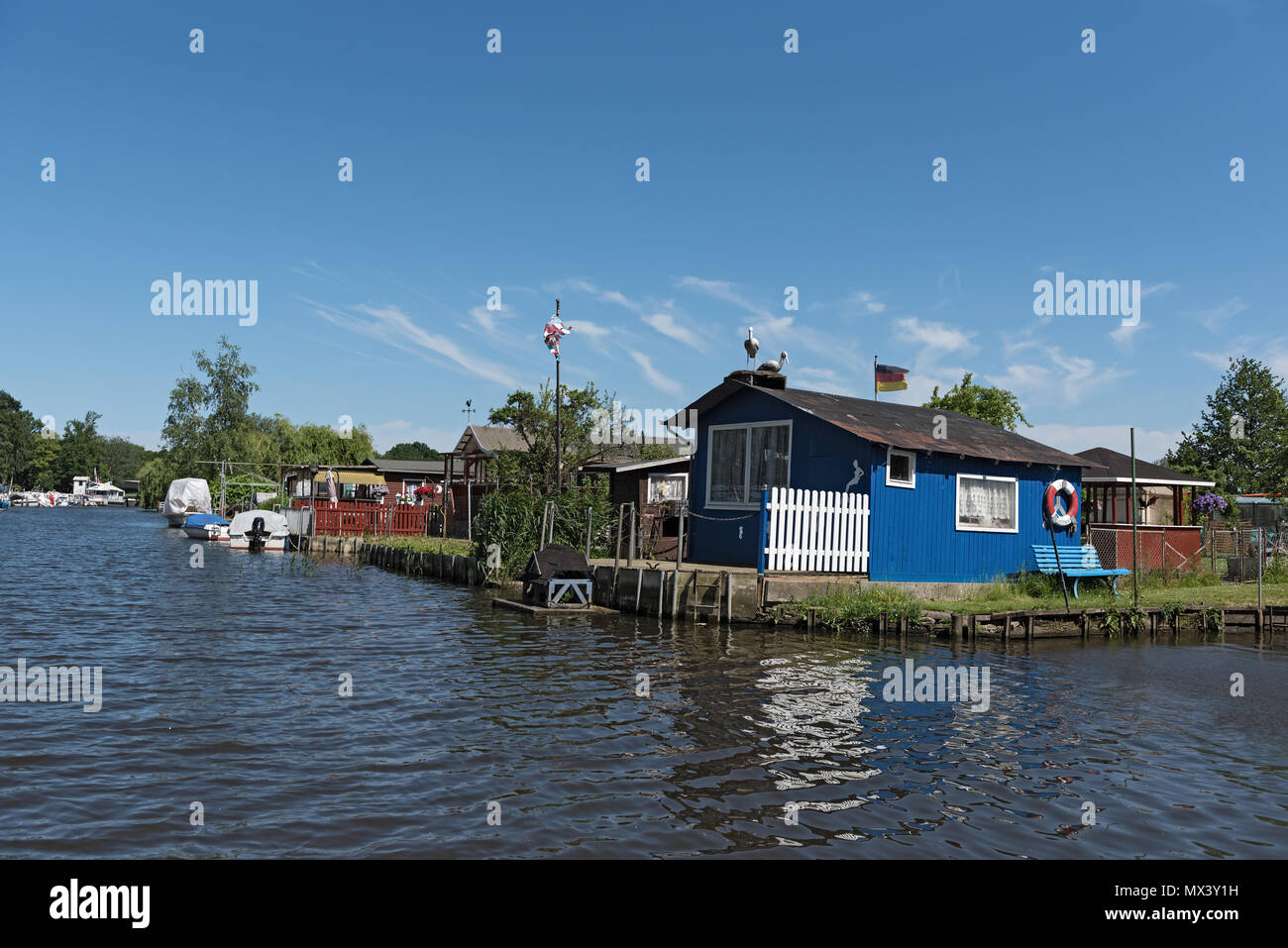 allotment gardens at the old trave, lubeck, germany - Stock Image