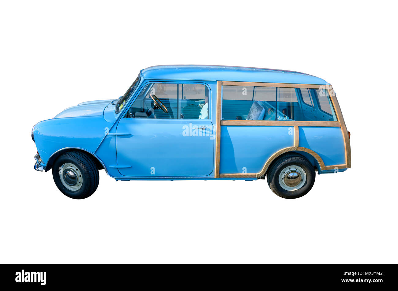 cut out of restored morris mini countryman two door estate - Stock Image