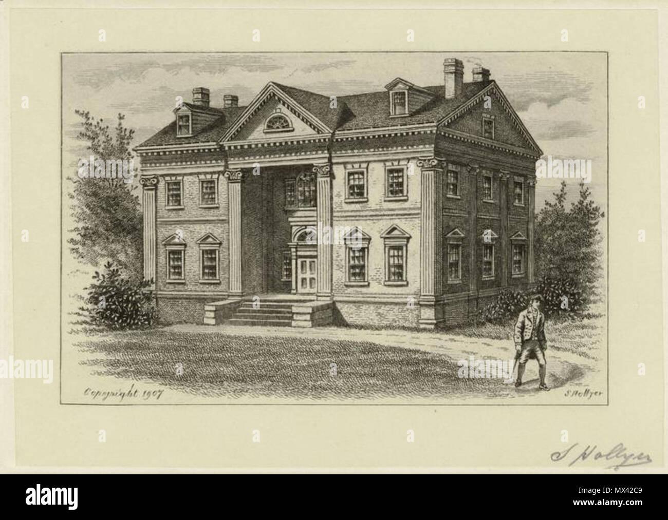 . Apthorpe Mansion, New York City, 1790. circa 1907. Hollyer, Samuel, 1826-1919 -- Engraver 54 Apthorpe Mansion 001 - Stock Image