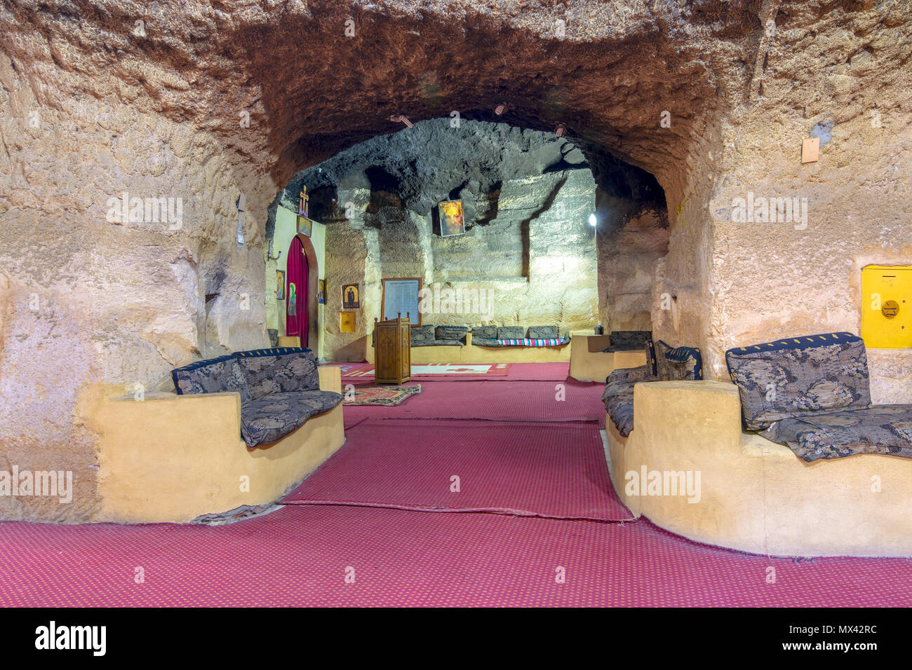 Church of Saint Paula, one of seven Churches and Chapels hidden in a series of caves in the Mokattam (Muqattam) hills, Cairo, Egypt - Stock Image