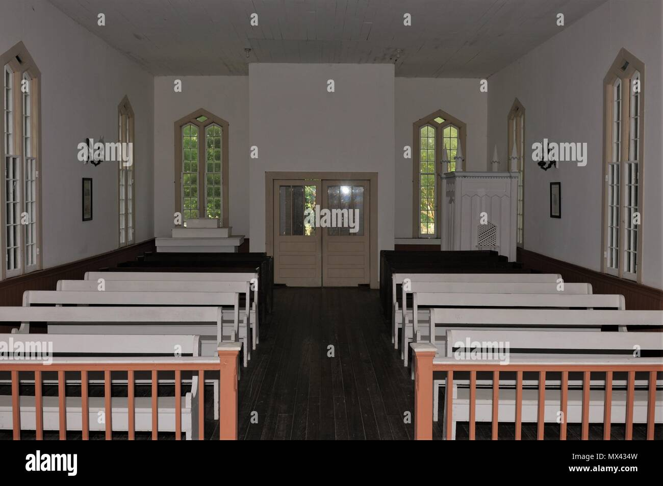 Sanctuary of the Rodney, Sacred Heart Catholic Church in Port Gibson, Mississippi. - Stock Image