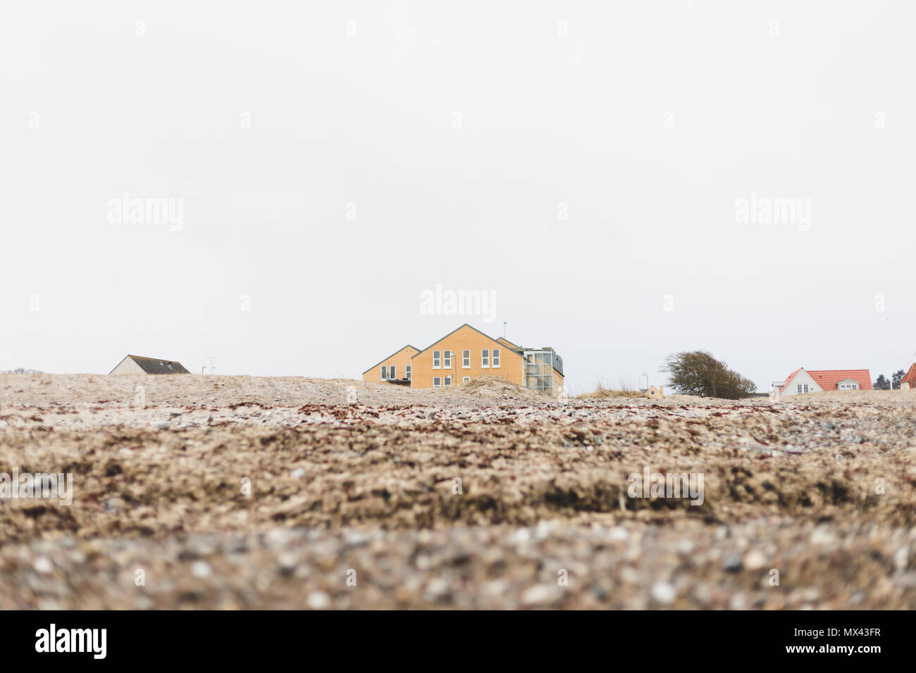 Colorful houses in the seashore, danish beach. - Stock Image