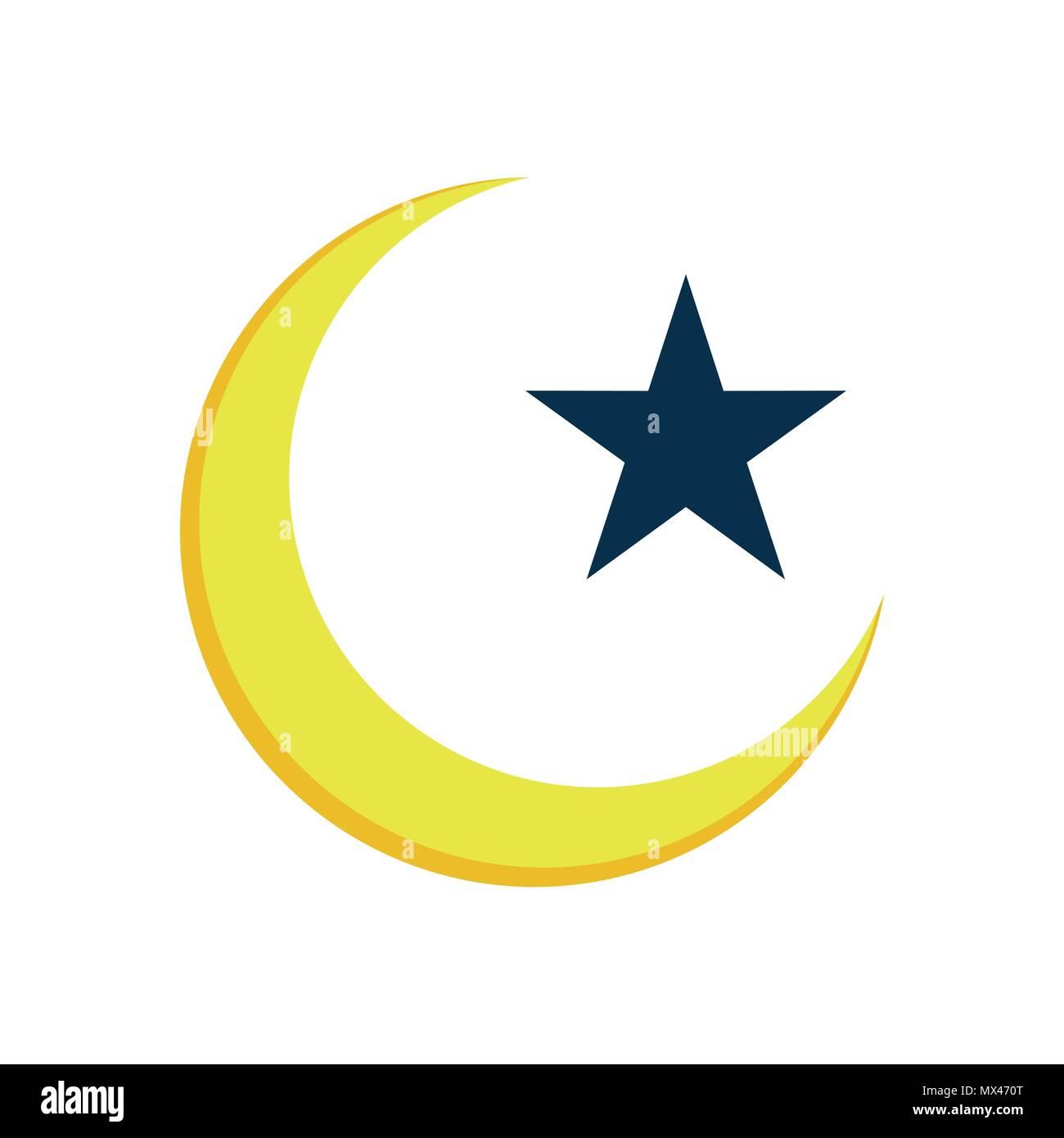 Crescent Star Islam Symbol Vector Illustration Graphic Design Stock